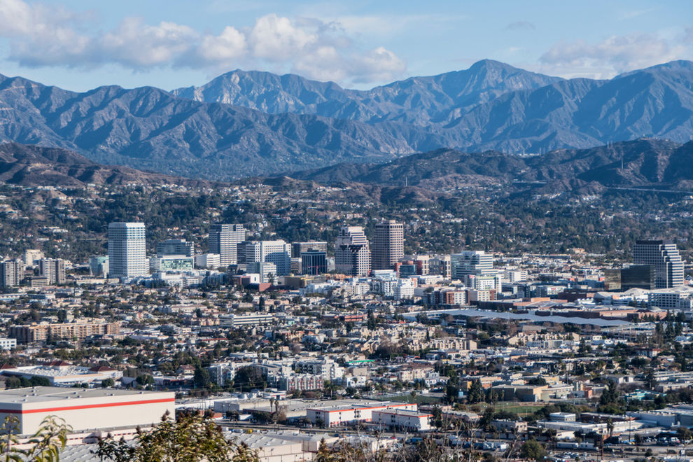 Hilltop view of downtown Glendale